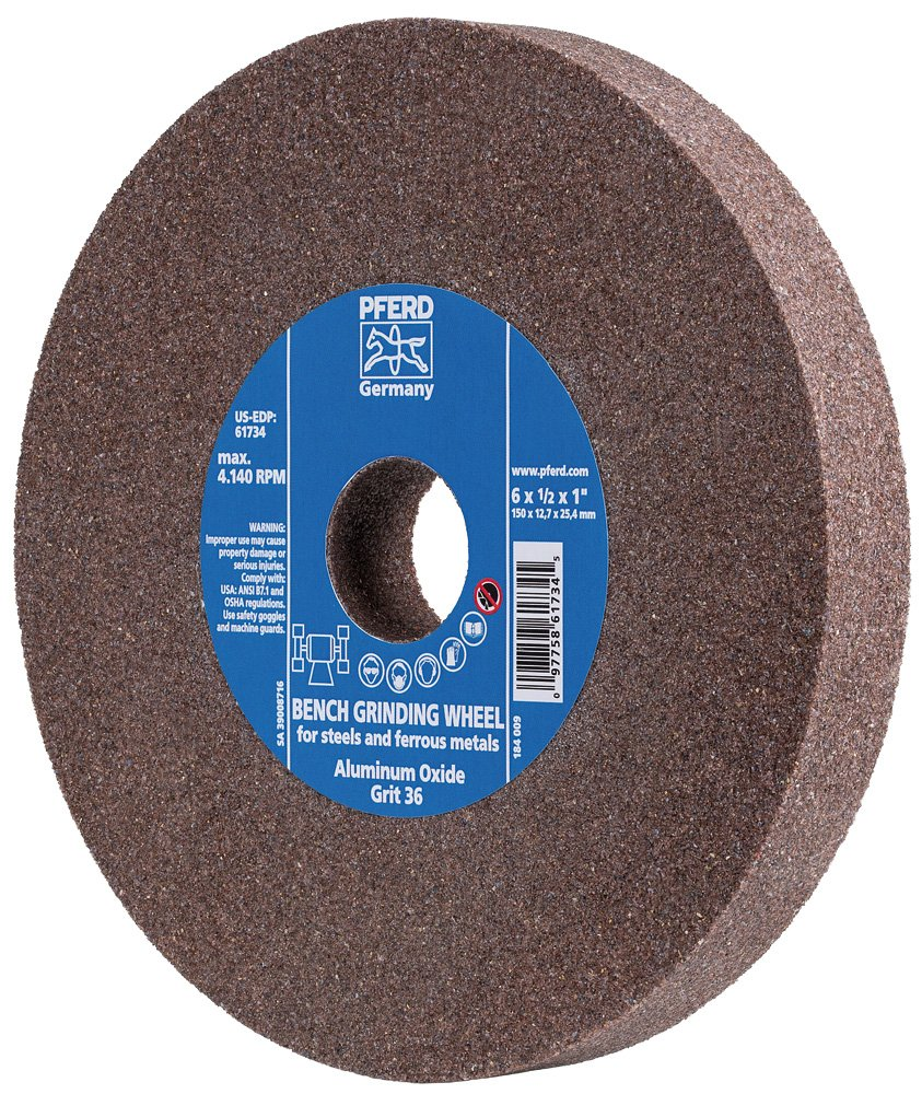 PFERD 61742 Bench Grinding Wheel, Aluminum Oxide, 6'' Diameter, 3/4'' Thick, 1'' Arbor Hole, 80 Grit, 4140 Maximum RPM by Pferd