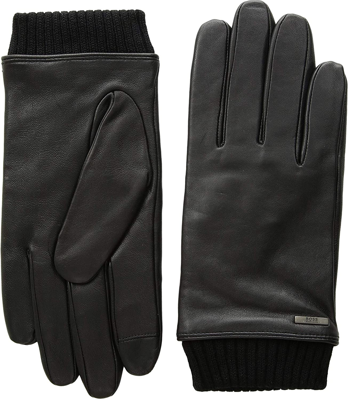 BOSS Hugo Boss Men's Hewen Touch Tech Leather Gloves Black 8