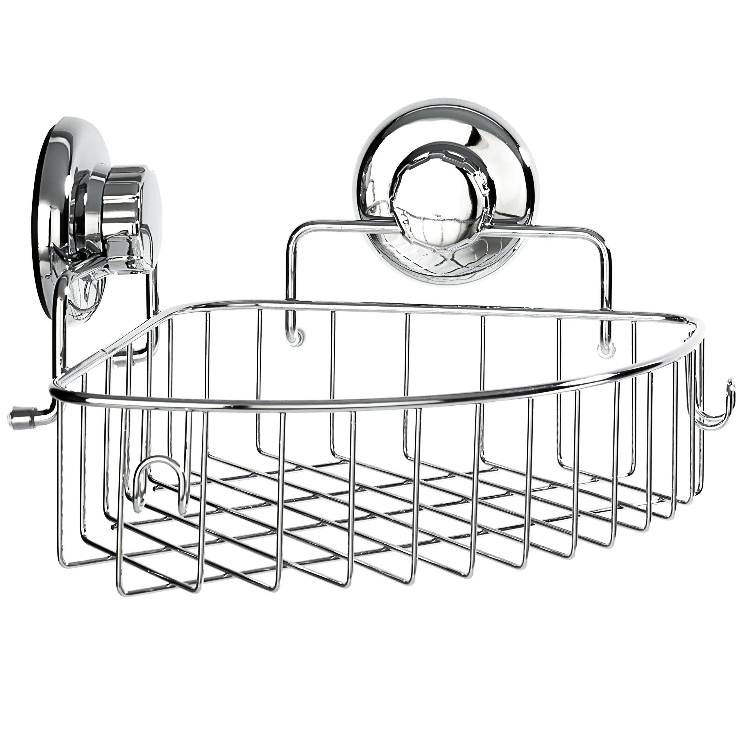 HASKO accessories Corner Shower Caddy with Suction Cup - Stainless Steel Basket for Bathroom Storage (Chrome)