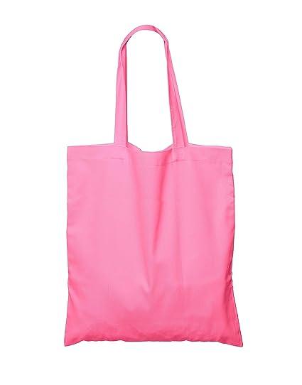 ELES VIDA 25 Bolsas de algodón, 38 x 42 cm, sin Estampar, Asas largas, Bolsa de Tela, Bolsa de algodón, Bolsa de Yute con Certificado Öko-Tex ®, Rosa, ...