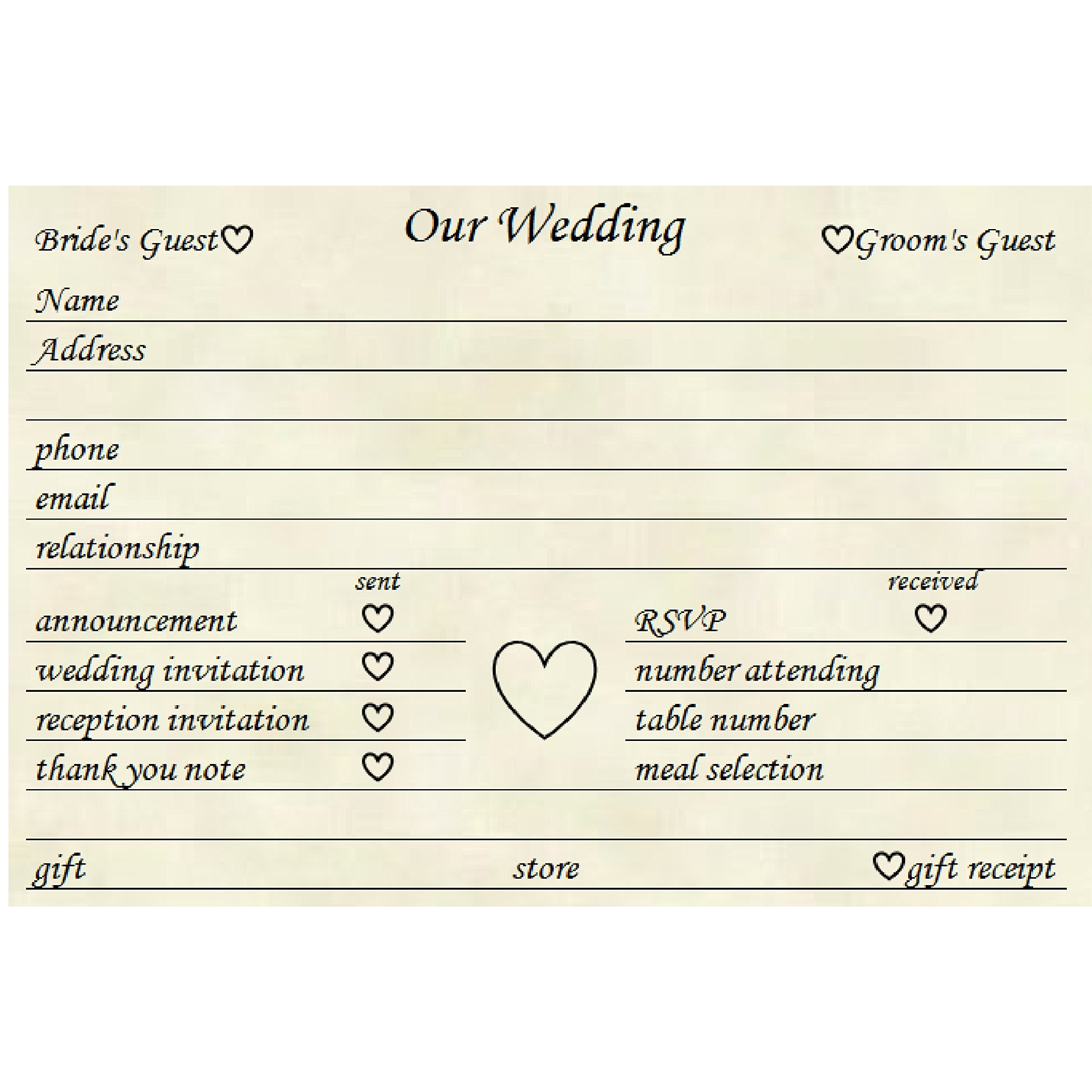 Colonial Cards: 100 Natural Parchment 4'' x 6'' Cards, Wedding Planning Organization Cards