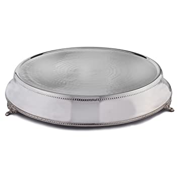 elegance round tapered wedding cake standplateau silver color 18 inch