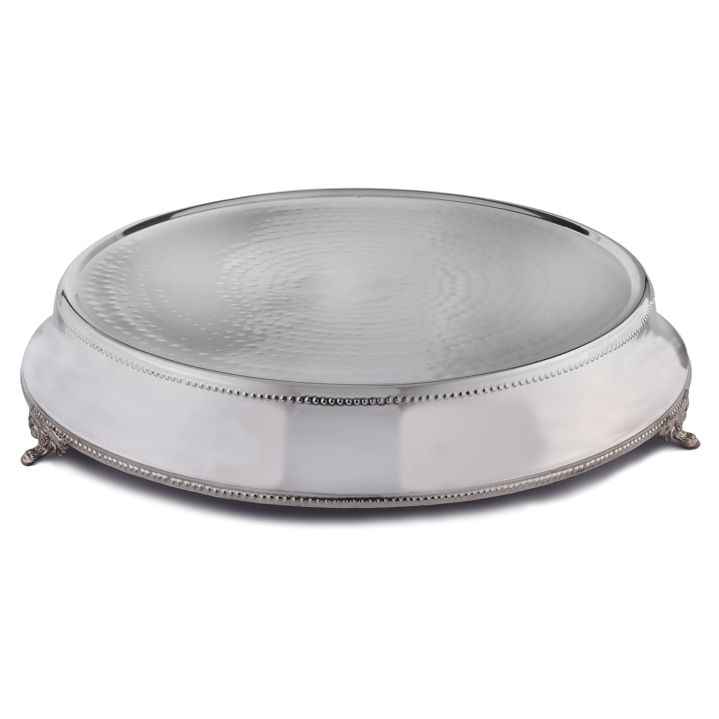 Elegance Round Tapered Wedding Cake Stand/Plateau, Silver Color, 18-Inch