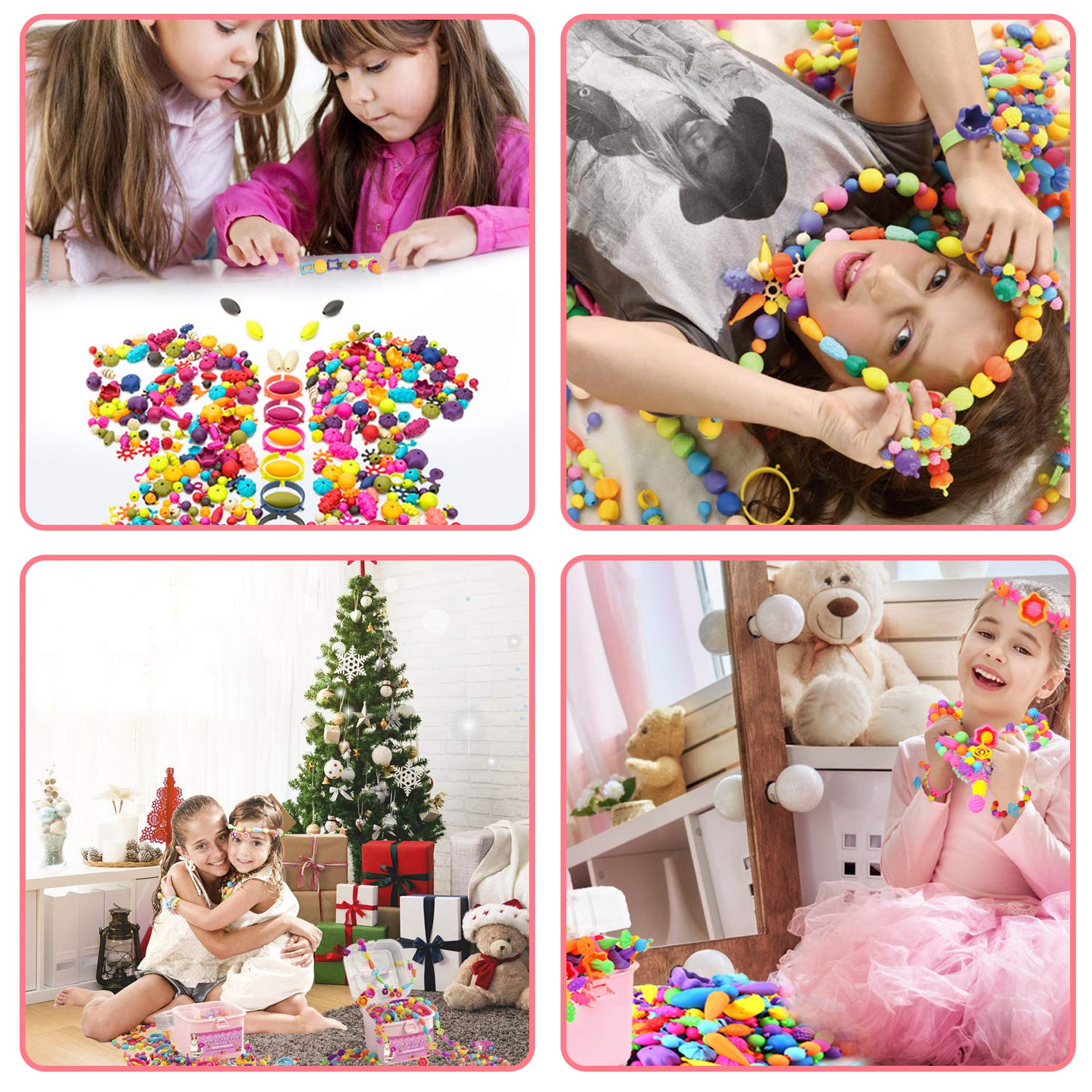 100 PCS Pop Snap Beads Jewelry Making Kit Beads for Kids Girl Toys for 3 4 5 6 7 8 9 Year Old