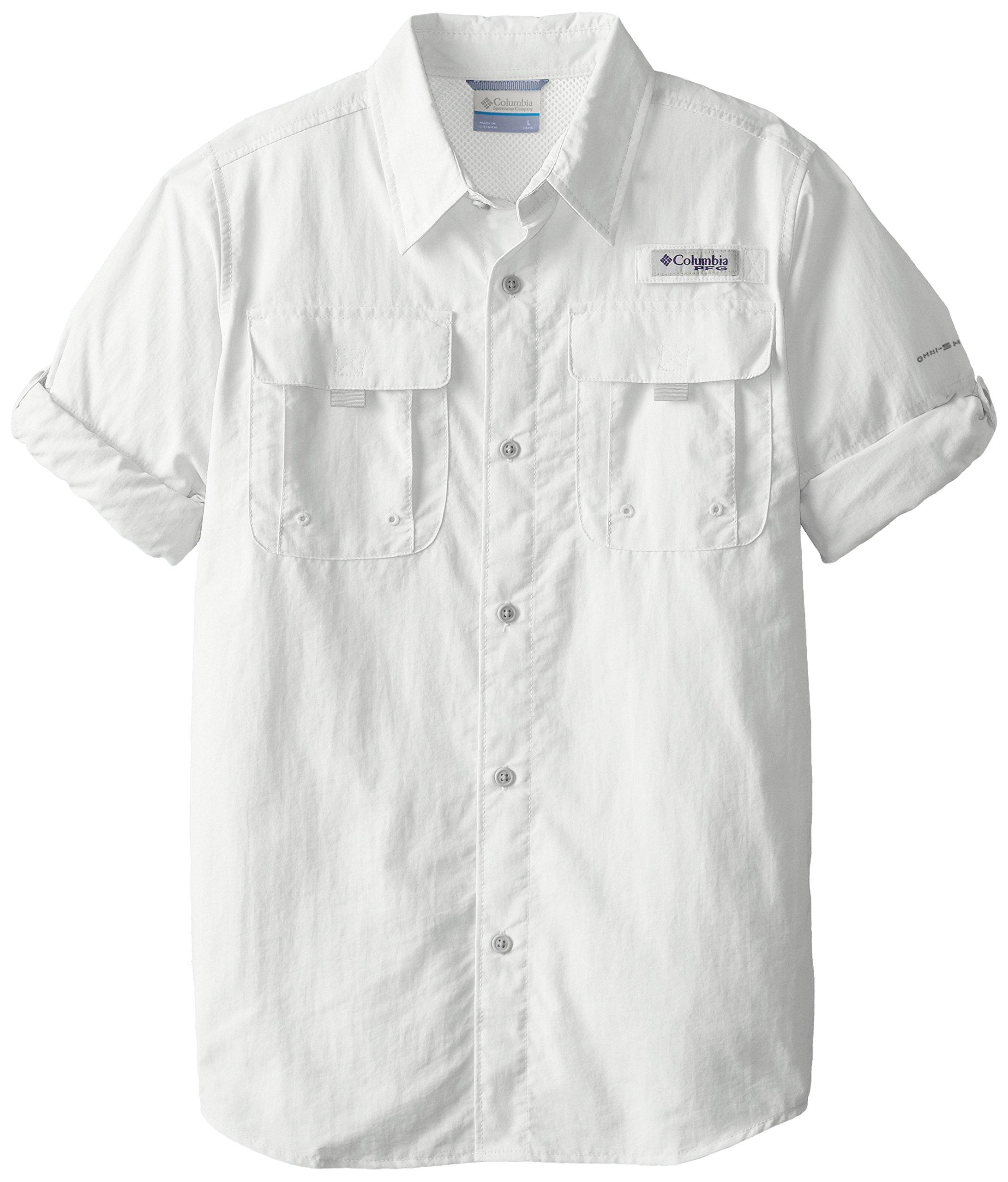 Columbia Sportswear Boy's Bahama Long Sleeve Shirt, White, Medium