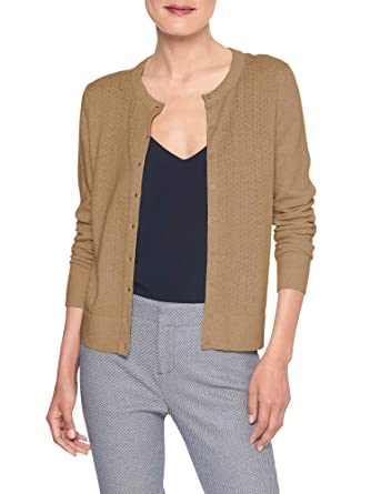 683acad9aa Banana Republic Womens 333674 Forever Pointelle Knit Front Cardigan Sweater  Camel Beige (XX-Large