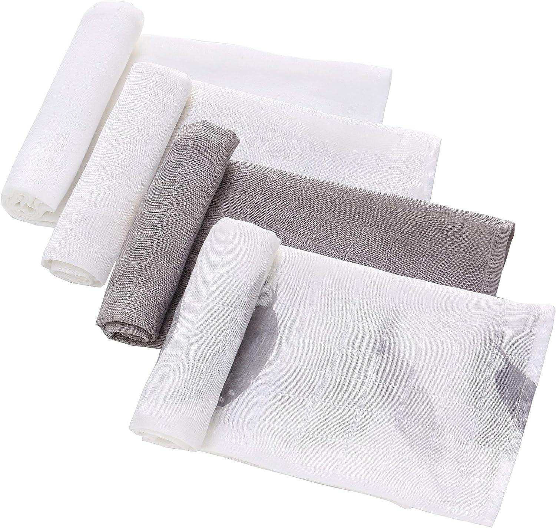 Neutre 4-Pack Gaze Mousseline carr/é en mousseline de coton pour les b/éb/és Mousselines