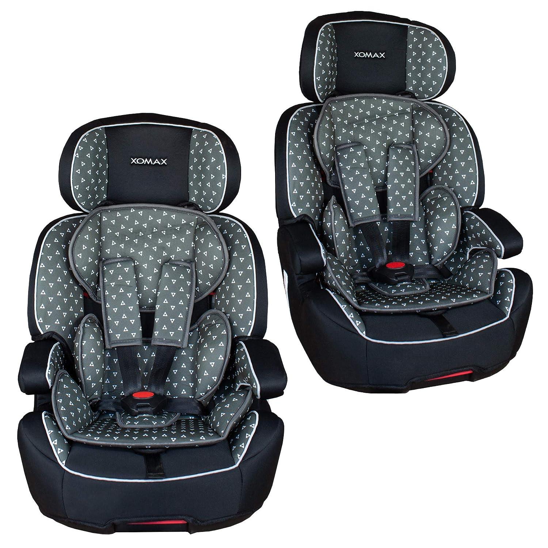 1-12 Jahre XOMAX XL-518-Grau Kindersitz mit ISOFIX I mitwachsend I 9-36 kg Gruppe 1//2//3 I 5-Punkt-Gurt und 3-Punkt-Gurt I Bezug abnehmbar und waschbar I ECE R44//04 I grau//schwarz