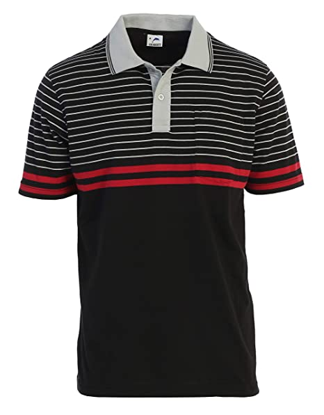 019648d23324 Gioberti Mens Slim Fit Striped Polo Shirt with Pocket at Amazon ...