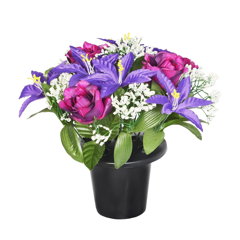 25CM ARTIFICIAL PURPLE LILY & ROSE GRAVE FLOWER POT - VASE INSERT MEMORIAL sf