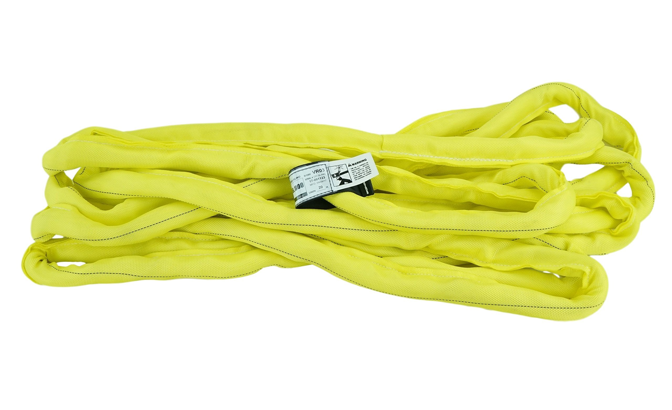 USA Made VR3 X 20' Yellow Slings 4'-20' Lengths In Listing, DOUBLE PLY COVER Endless Round Poly Lifting Slings, 8,400 lbs Vertical, 6,720 lbs Choker, 16,800 lbs Basket (USA Poly)(20 FT) by Chenango Supply
