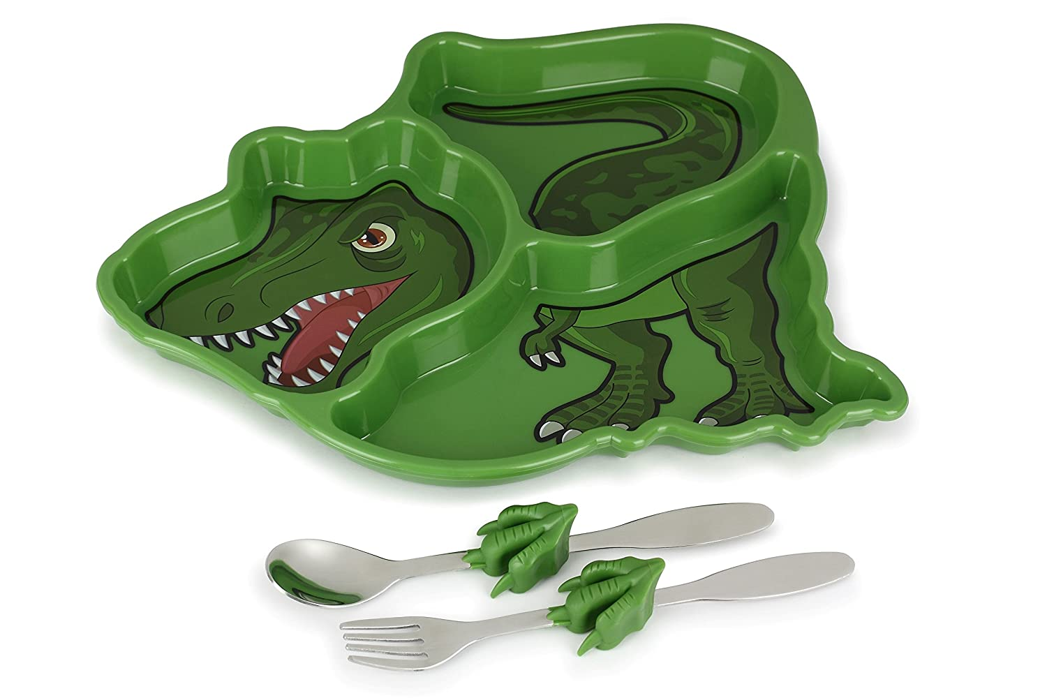KidsFunwares Me Time Meal Set (T-Rex Dinosaur) – 3-Piece Set for Kids and Toddlers – Plate, Fork & Spoon that Children Love - Spark your Child's Imagination & Teaches Portion Control - Dishwasher Safe