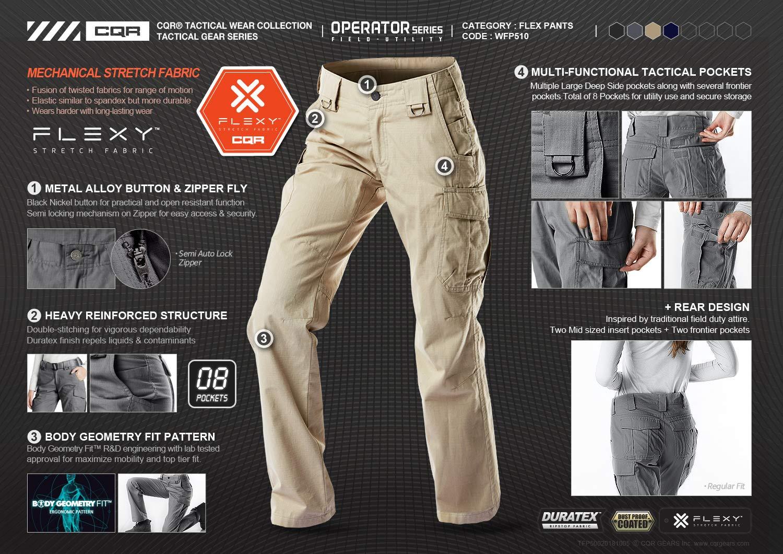 CQR CQ-WFP510-KHK_14/Long Women's Flex Stretch Tactical Long Pants Lightweight EDC Assault Cargo wiith Multi Pockets WFP510 by CQR (Image #4)