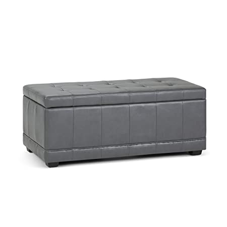 Simpli Home 3AXCOT-246-G Westchester 45 inch Wide Contemporary Storage Ottoman in Stone Grey Faux Leather