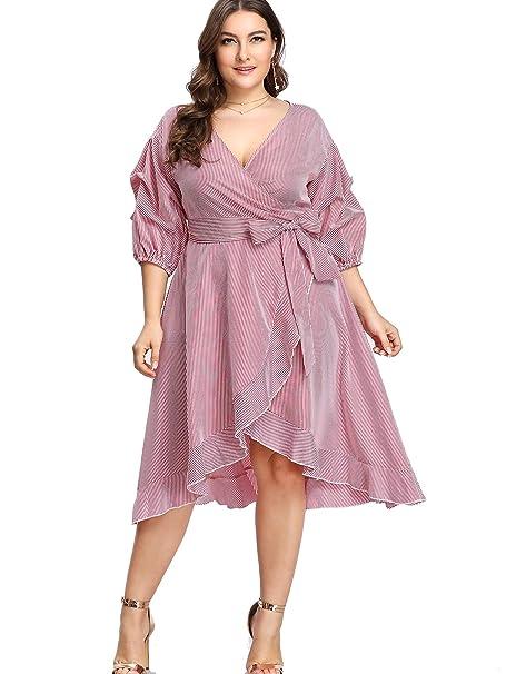 Milumia Women Plus Size Wrap Midi Dress Peasant 3 4 Sleeves Casual Floral  Stripe