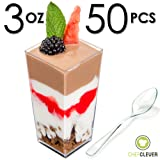Mini Dessert Cups, Appetizer Bowls & Spoons with Recipe e-Book [Clear Plastic, 3 oz, Square Tall, 50 Count] Small Catering Supplies, Disposable Parfait Tasting Shooters Tumblers Glasses