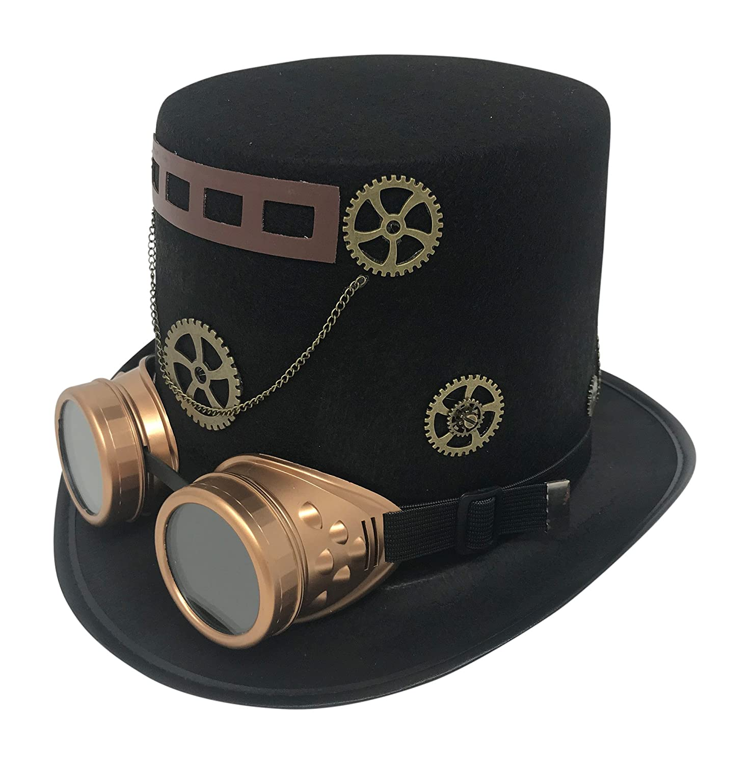 Amazon.com  Steampunk Costume Tall Black Top Hat Goggles Gears   Ribbon  with Chain Victorian Gothic Accessories  Clothing c65a9d3a5785