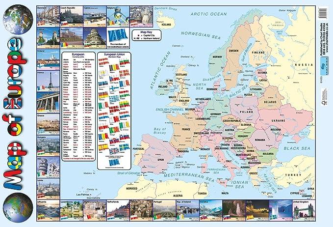 Póster de mapa de Europa/gráfico de pared para escuelas/colegios – con banderas de Europa y información de actualidad europea – 60 cm x 40 cm: Amazon.es: Hogar