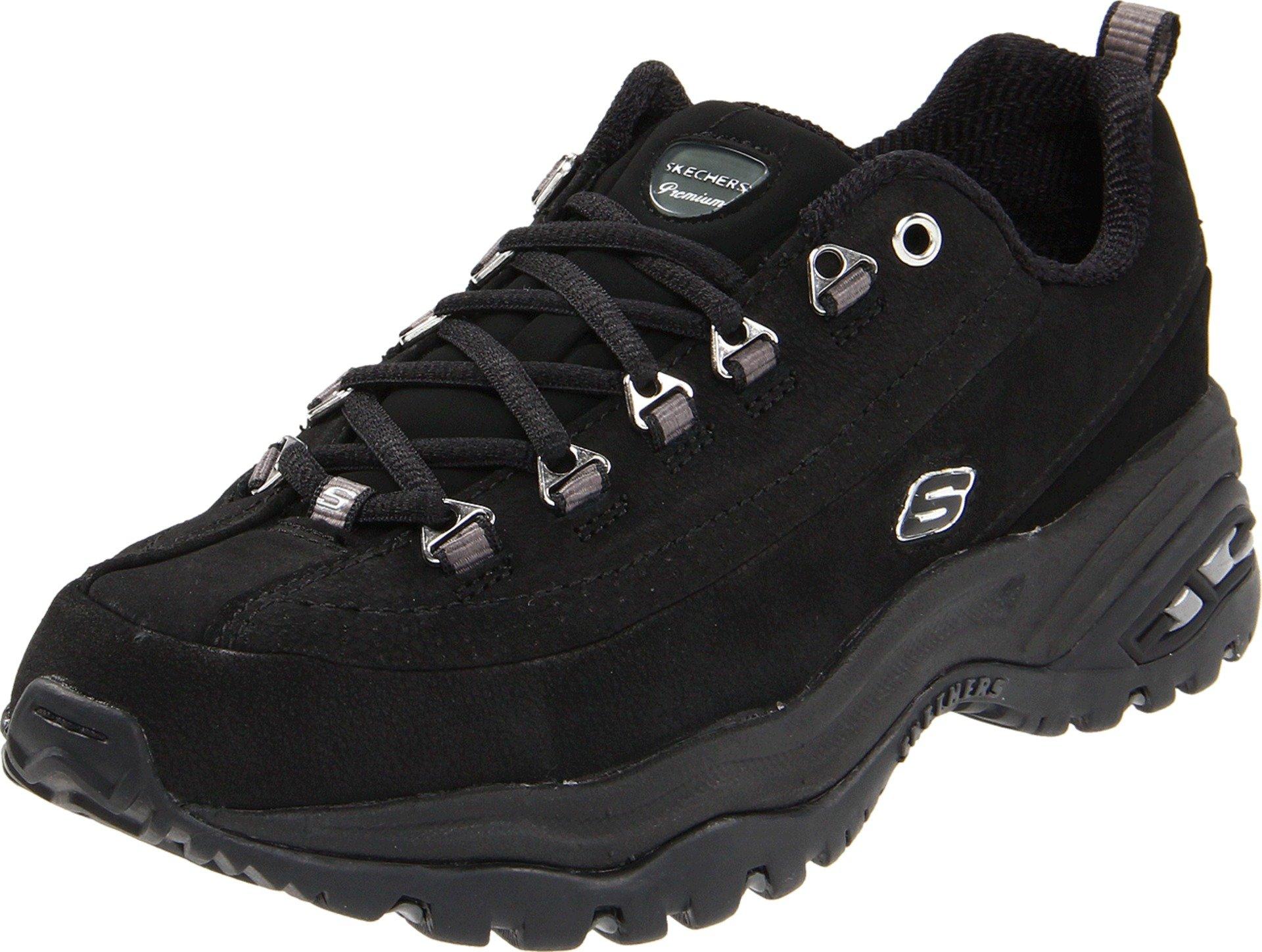 Skechers Sport Women's Premium-Nubuck Sneaker, Black Nubuck, 9 M US