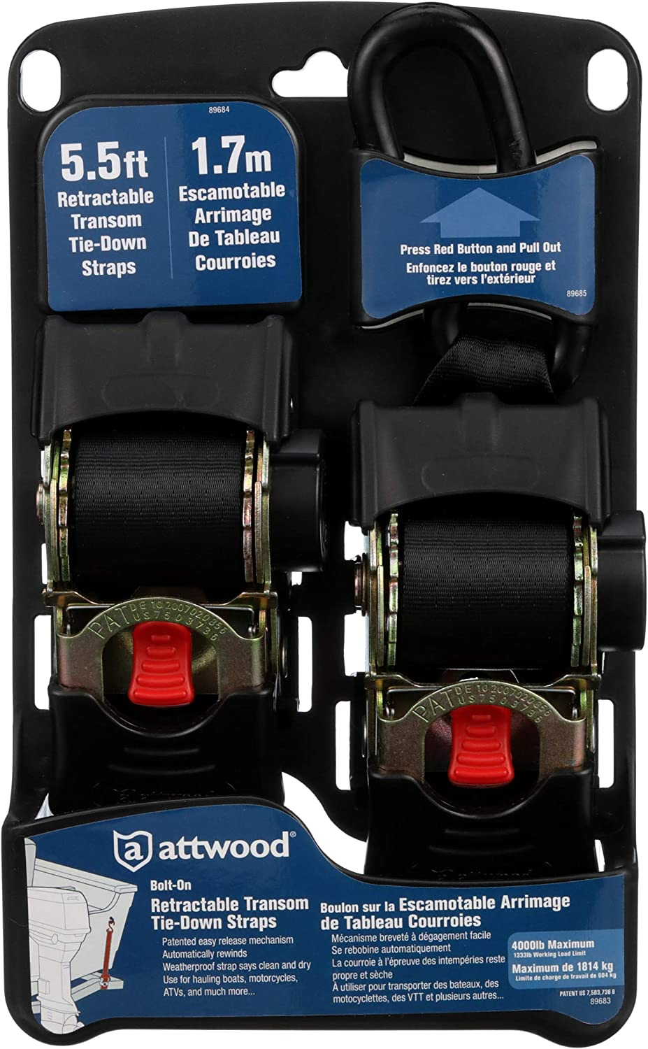 Set of 2 Attwood Boat Trailer Tie-Down Straps 15260-8Retractable Transom