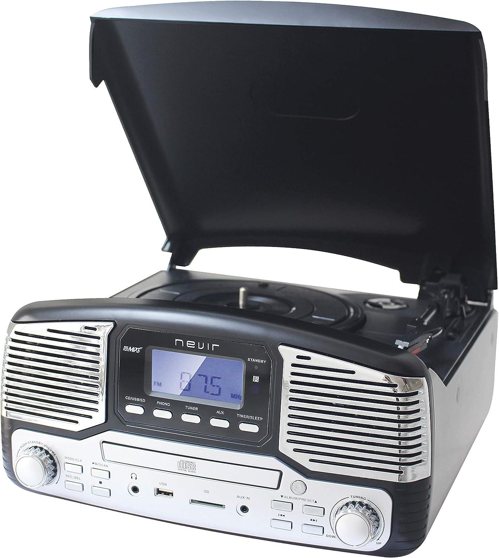 Nevir NVR-812 VCDMUC Tocadiscos Retro Black: Amazon.es: Electrónica