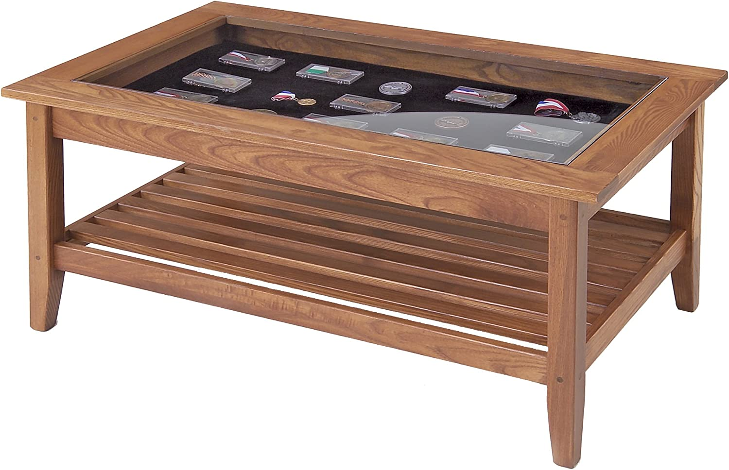 Manchester Wood American Made Furniture Glass Top Display Coffee Table Amazon Co Uk Kitchen Home
