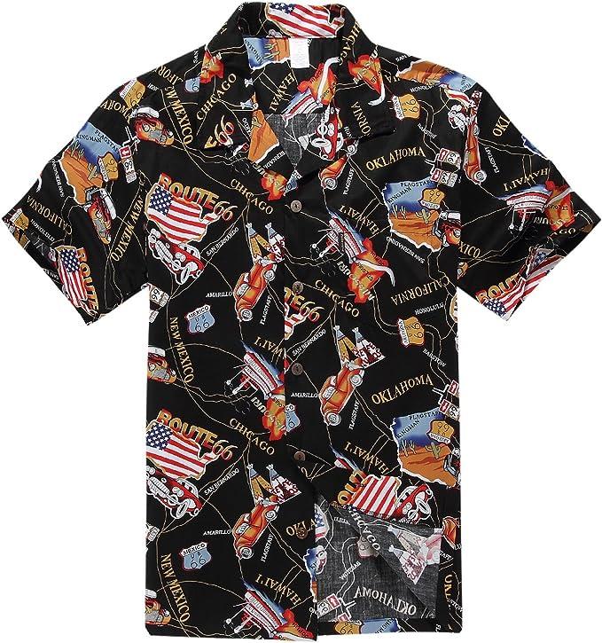 Palm Wave Hombres Aloha Camisa Hawaiana en Bandera Estadounidense Ruta 66 Negro: Amazon.es: Ropa y accesorios