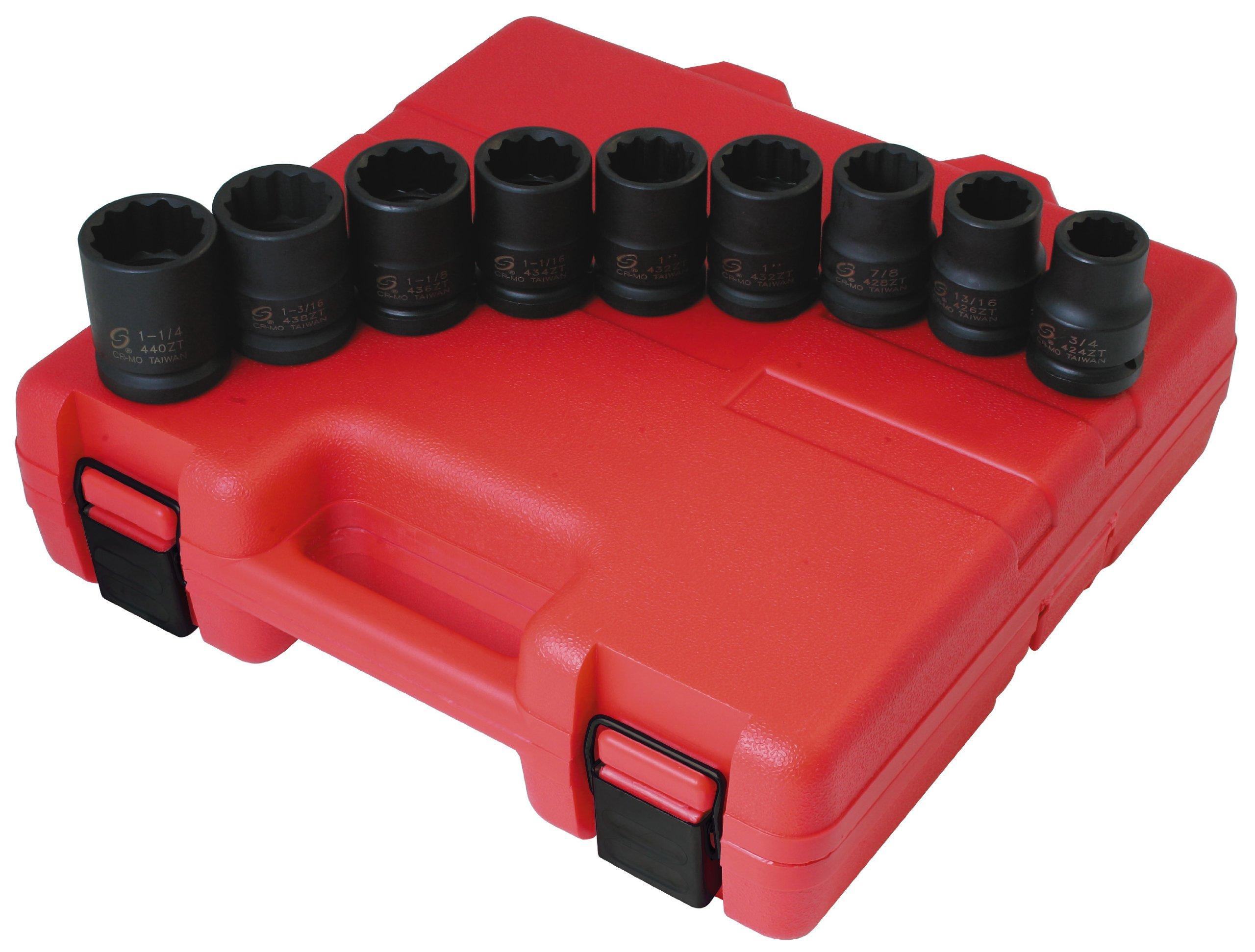 Sunex 4687 3/4-Inch Drive 12-Point SAE Impact Socket Set, 9-Piece