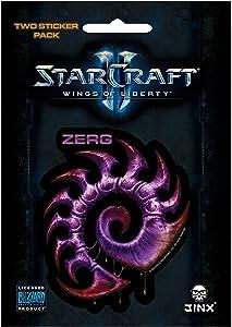 JINX Starcraft II: Wings of Liberty Zerg Sticker, Purple, 2 Multi-Size Stickers