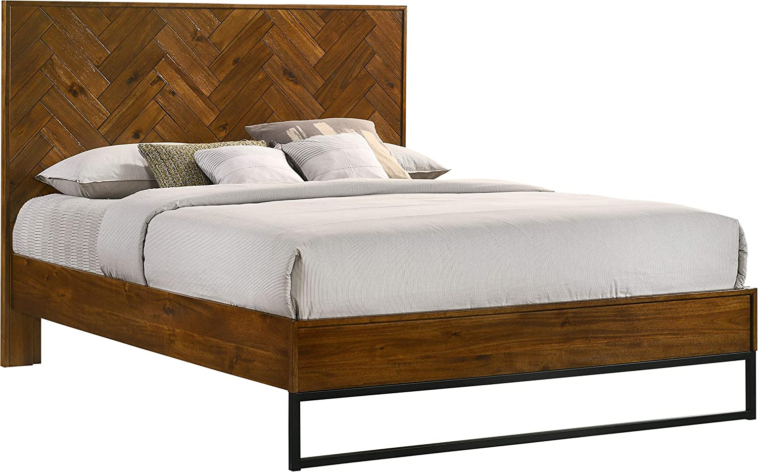 Meridian Furniture Reed Collection Mid Century Modern Bed with Matte Black Base, Queen, Brown Antique Coffee Wood Finish