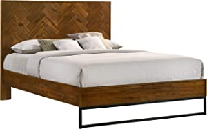 Meridian Furniture Reed Collection Mid Century Modern Bed with Matte Black Base, King, Brown Antique Coffee Wood Finish