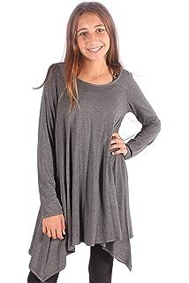 a90d100dad0 Lori&Jane Shark Bite Long Sleeve Tunic Top Blouse Shirt Stylish Modern