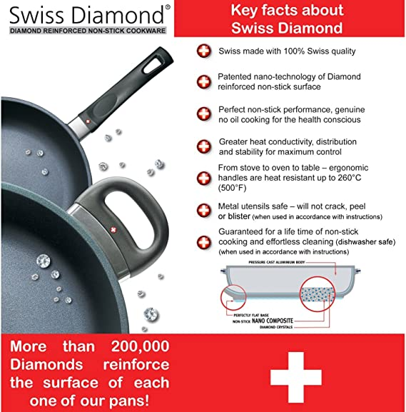 Swiss Diamond Nonstick Fry Pan With Lid 10 25 Skillets Kitchen Dining Amazon Com