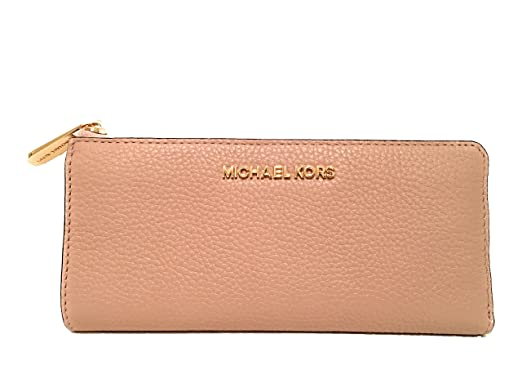 ee9f78a89622 Michael Kors Bedford Large Three Quarter Zip Around Pebbled Leather Wallet  Ballet