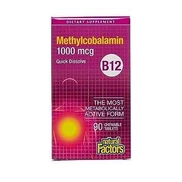 Natural Factors, Vitamina B12 Methylcobalamin - 1000mcg x90tabs: Amazon.es: Salud y cuidado personal