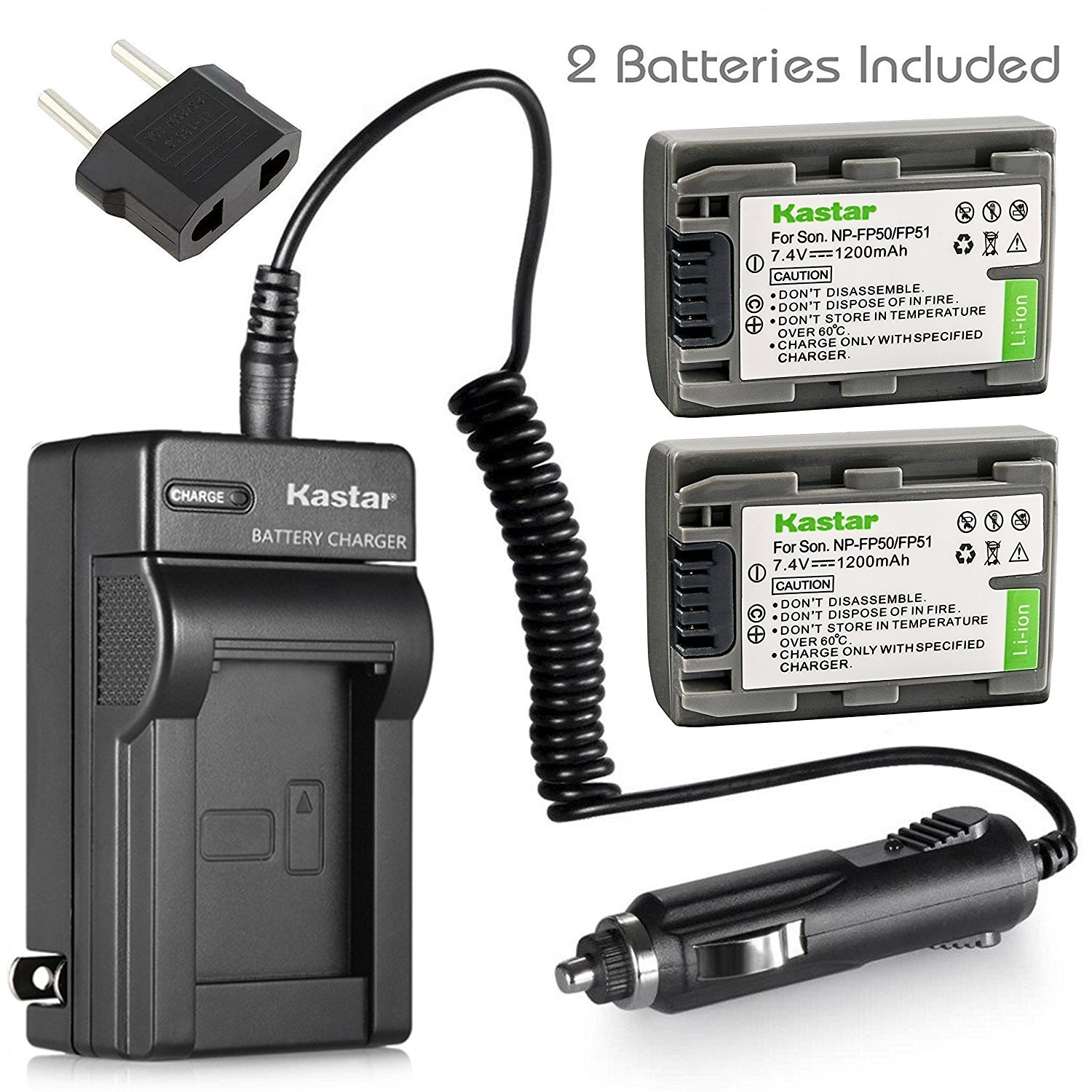 Kastar 2Pcs Battery and Charger for Sony NP-FP30 NP-FP50 NP-FP70 NP-FP90 and Sony DCR-DVD105 DCR-DVD202 DCR-DVD203 DCR-DVD205 DCR-DVD305 DCR-DVD403 DCR-DVD405 DCR-DVD505 DCR-DVD92 DCR-SR80 HDR-HC3
