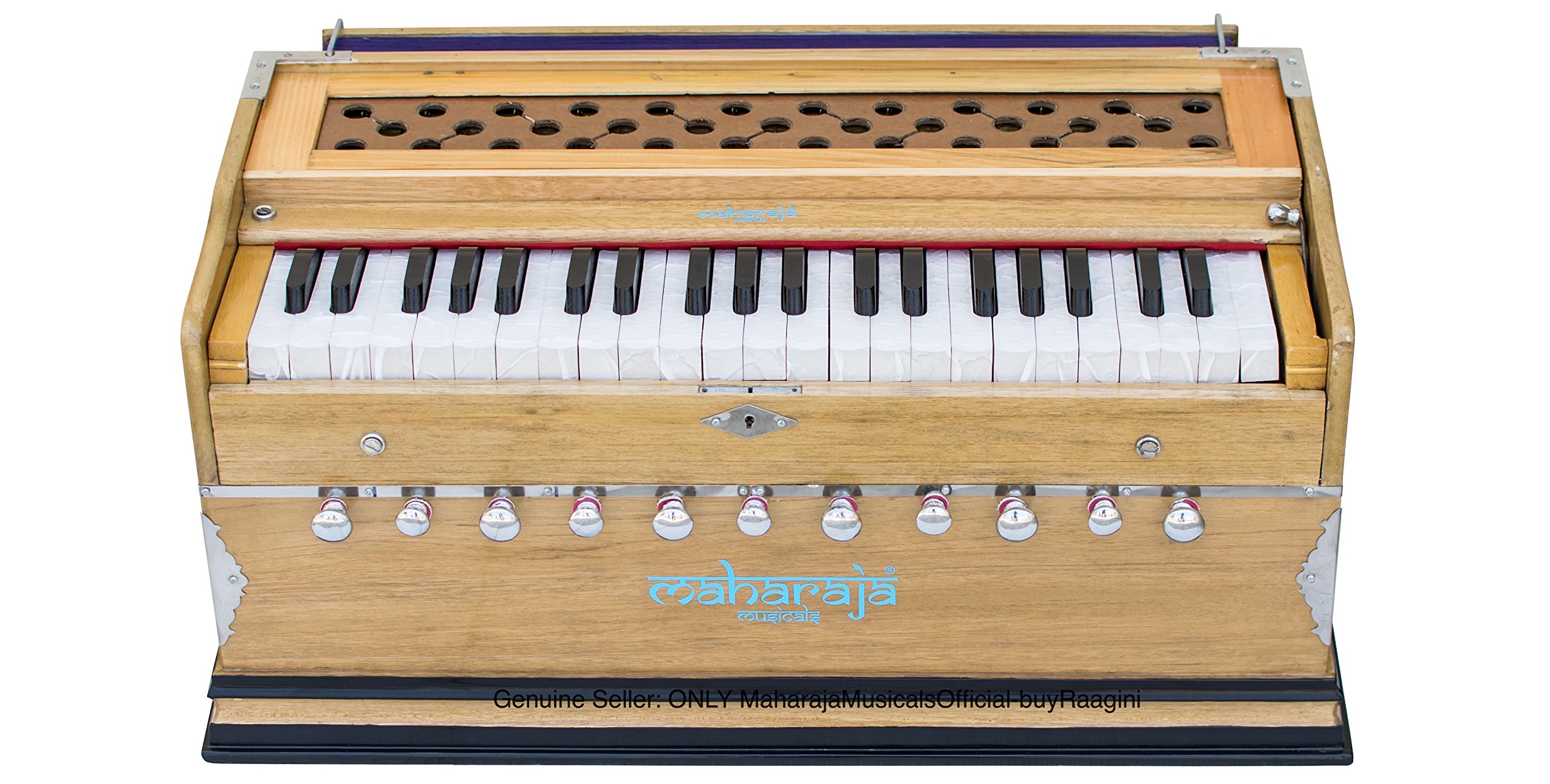 Maharaja Musicals Harmonium, 11 Stops, In USA, 3 1/2 Octave, Double Reed, Coupler, Natural Color, Standard, Book, Padded Bag, A440 Tuned, Harmonium Indian Musical Instrument (PDI-AAE)