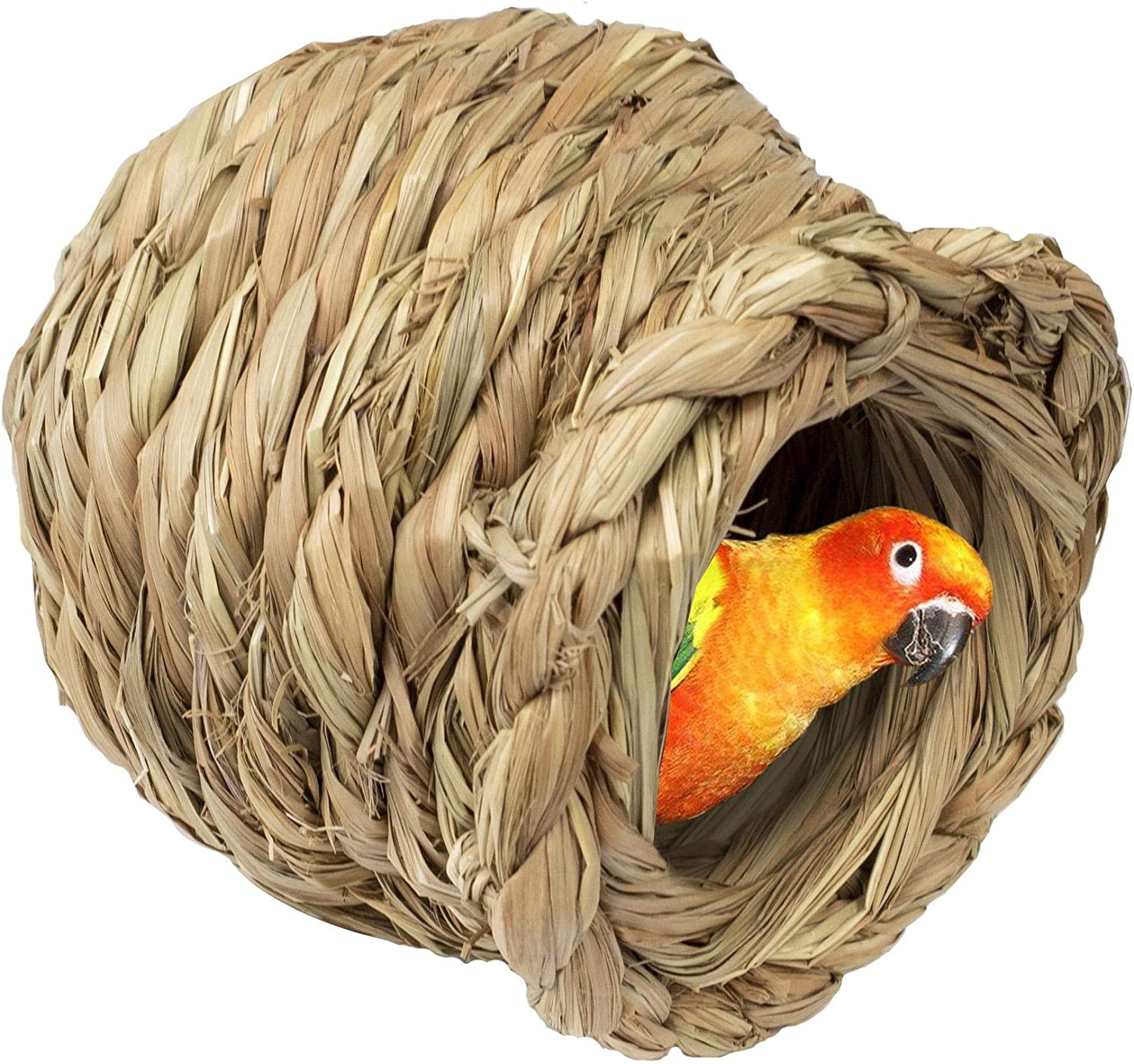 Woven Bird Nest Cage | Natural Grass Hideaway Bird Hut, Warm and Safe for All Kinds of Birds