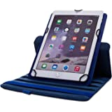 Apple iPad PU Leather Wallet Flip Case Cover For the iPad 2, 3,4 360 Degree Rotation Full Sleep Wake Function (Dark Blue)