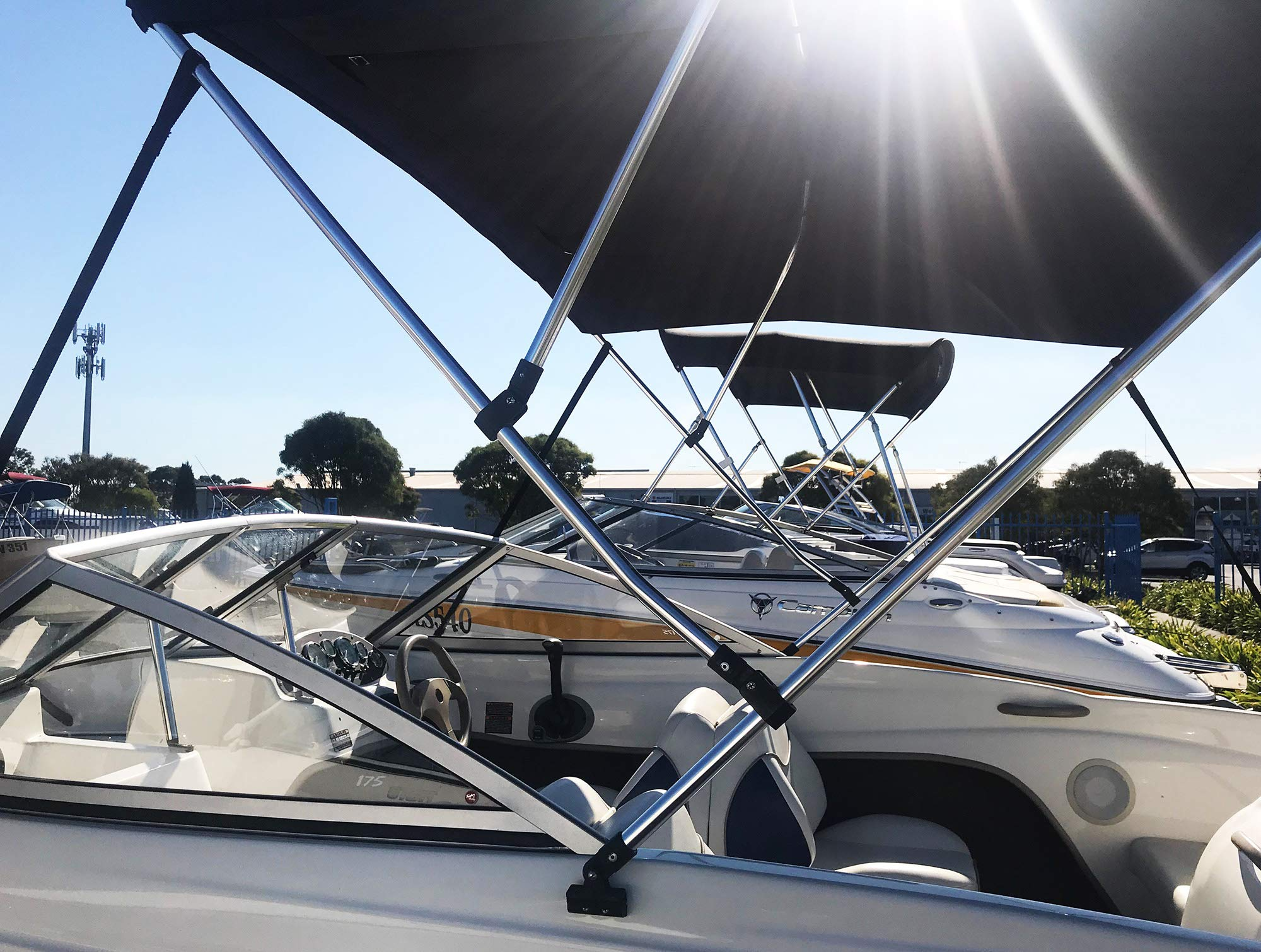 6pcs 1 Inch Boat Bimini Top Tube Jaw Slide Black Nylon Hardware with Bolt