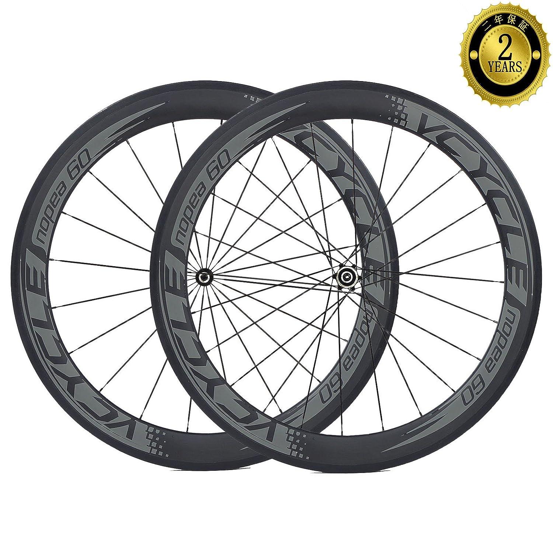 VCYCLE Nopea 700C カーボンレーシングロードバイクホイールセットクリンチャー60mmストレートプルシマノ8/9/10/11スピード B01MZ4XAX0
