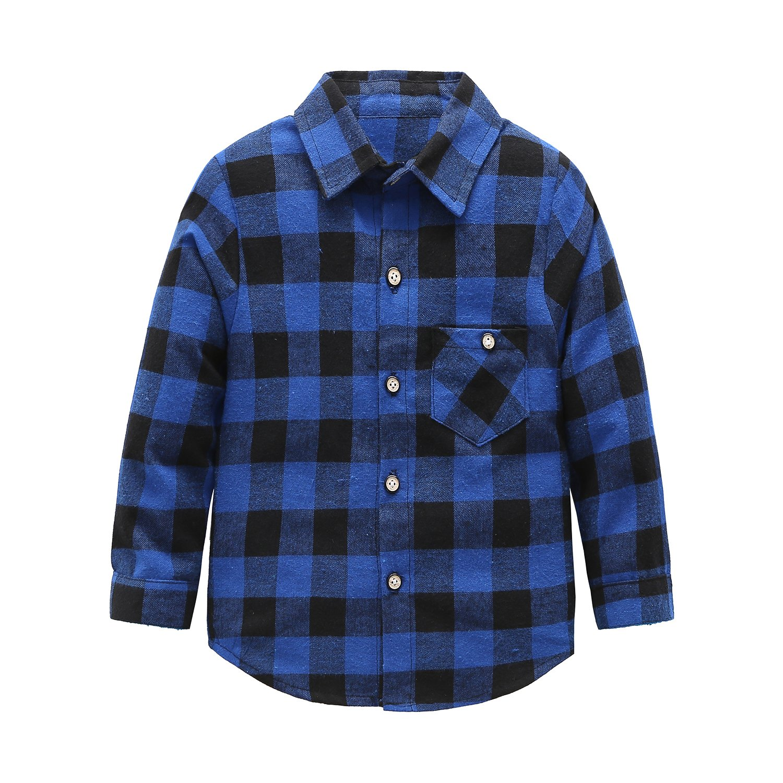 Grandwish Boys Girls Long Sleeve Plaid Flannel Shirt Blue 2T
