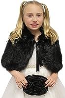 BRIDAL BLACK FAUX FUR CAPE FOX FOR CHILD, FAUX FUR SHRUG, FAUX FUR WRAP, FAUX FUR STOLE