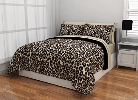 7 Piece Brushstroke Cheetah Design Bed In A Bag Set Queen Size, Featuring  Animal Inspired
