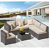 ALAULM 7 Piece Outdoor Patio Furniture Sets Patio Sectional Outdoor Furniture Manual Weaving Wicker Patio Sofa Porch Deck Cou