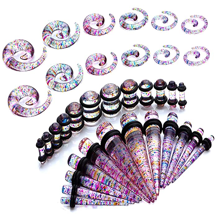 BYB Plugs Pair of Rainbow Color Splatter Acrylic Ear Stretching Spiral Tapers