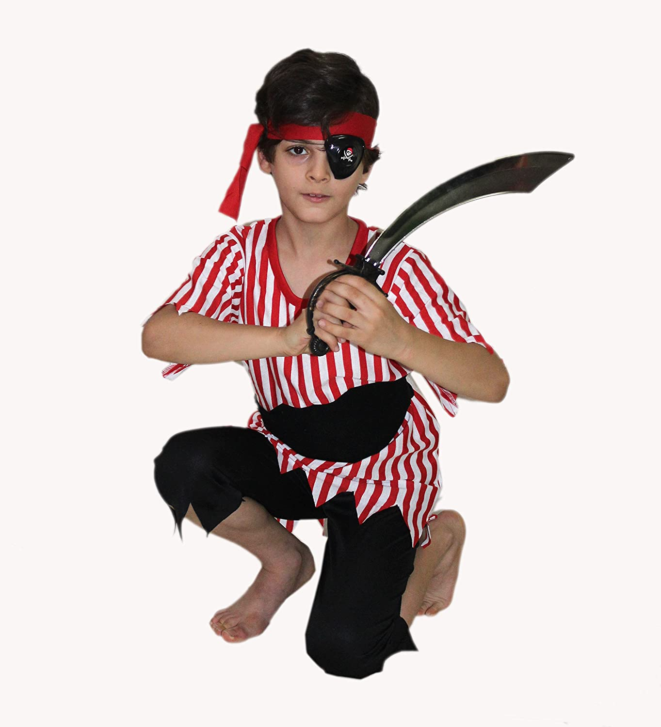 PIRATE BOY TODDLER KIDS FANCY DRESS HALLOWEENS PARTY COSTUME RED 2-4 YRS HB
