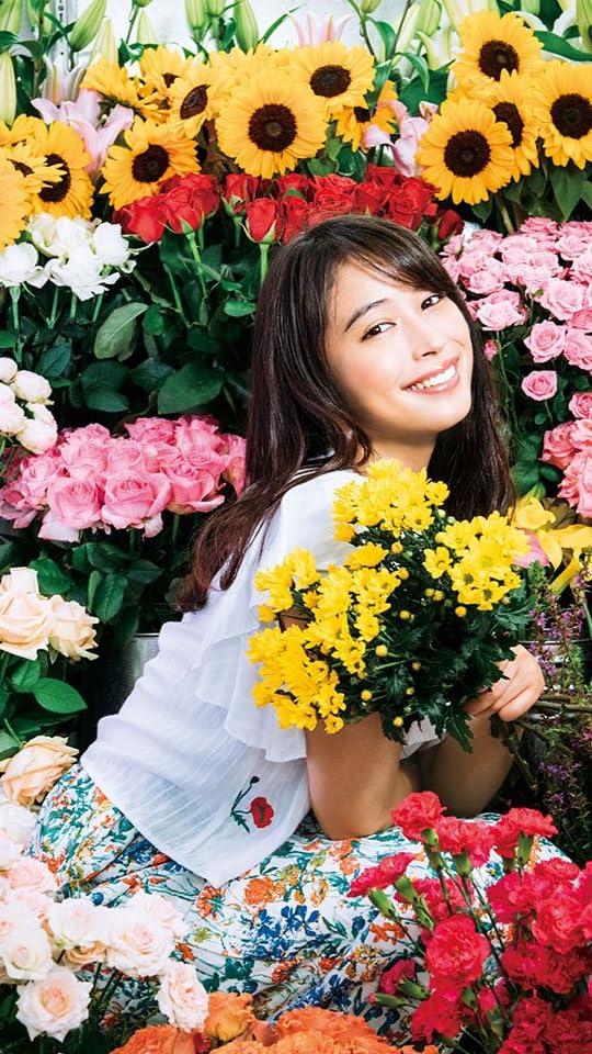 広瀬アリス 7月8月 花に囲まれた広瀬アリスさん XFVGA(480×854)壁紙画像