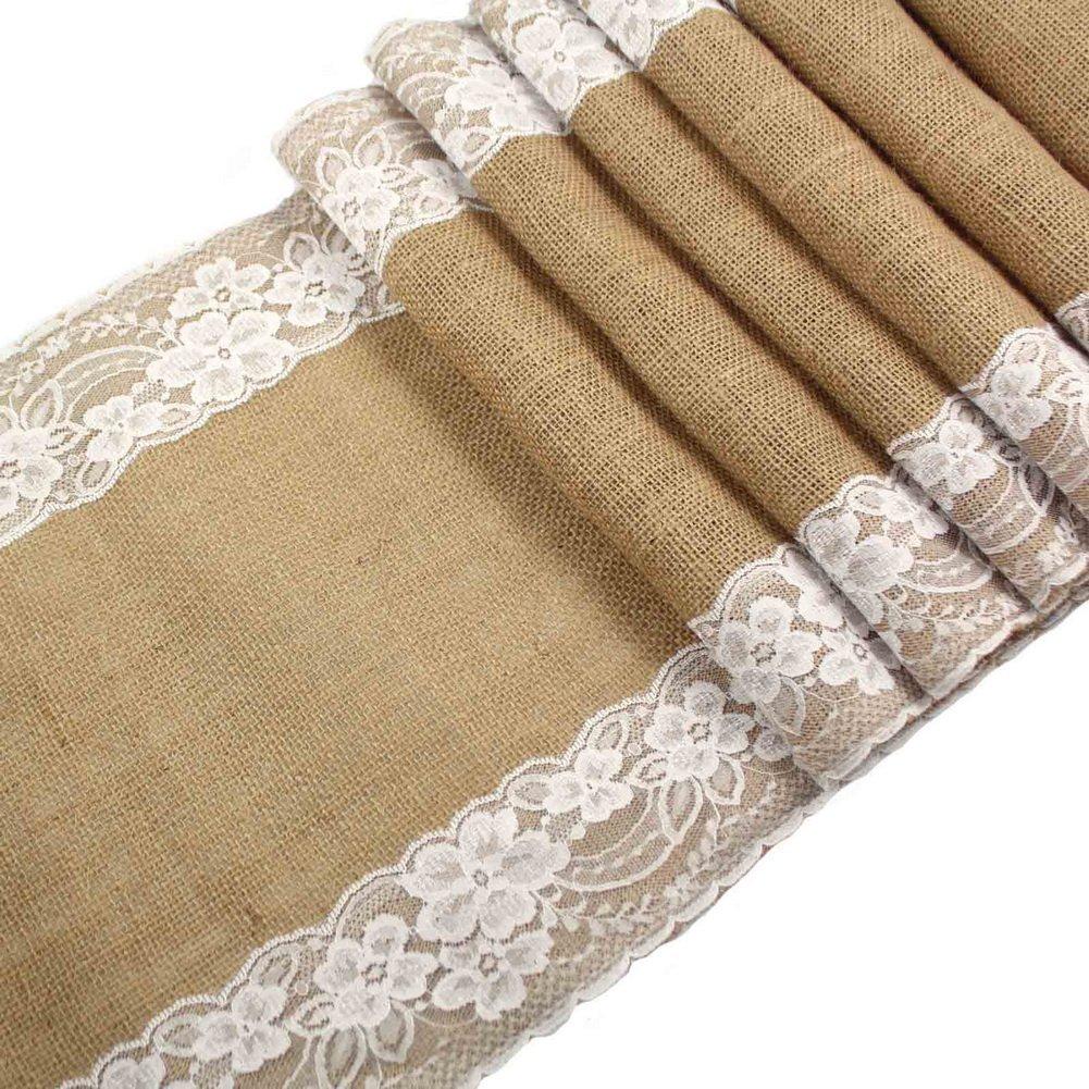 YunNaSi Rustic Burlap and Lace Table Tunners 12'' x 108'' Wedding (Khaki, 10pcs)