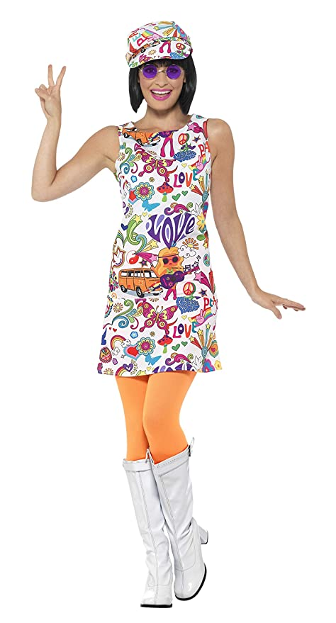 Hippie Costumes, Hippie Outfits Smiffys 44911S 60s Groovy Chick Costume (Small) £16.80 AT vintagedancer.com